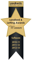 Landlord & Letting Awards Software Winner 2010/11, 2011/12 & 2012/13