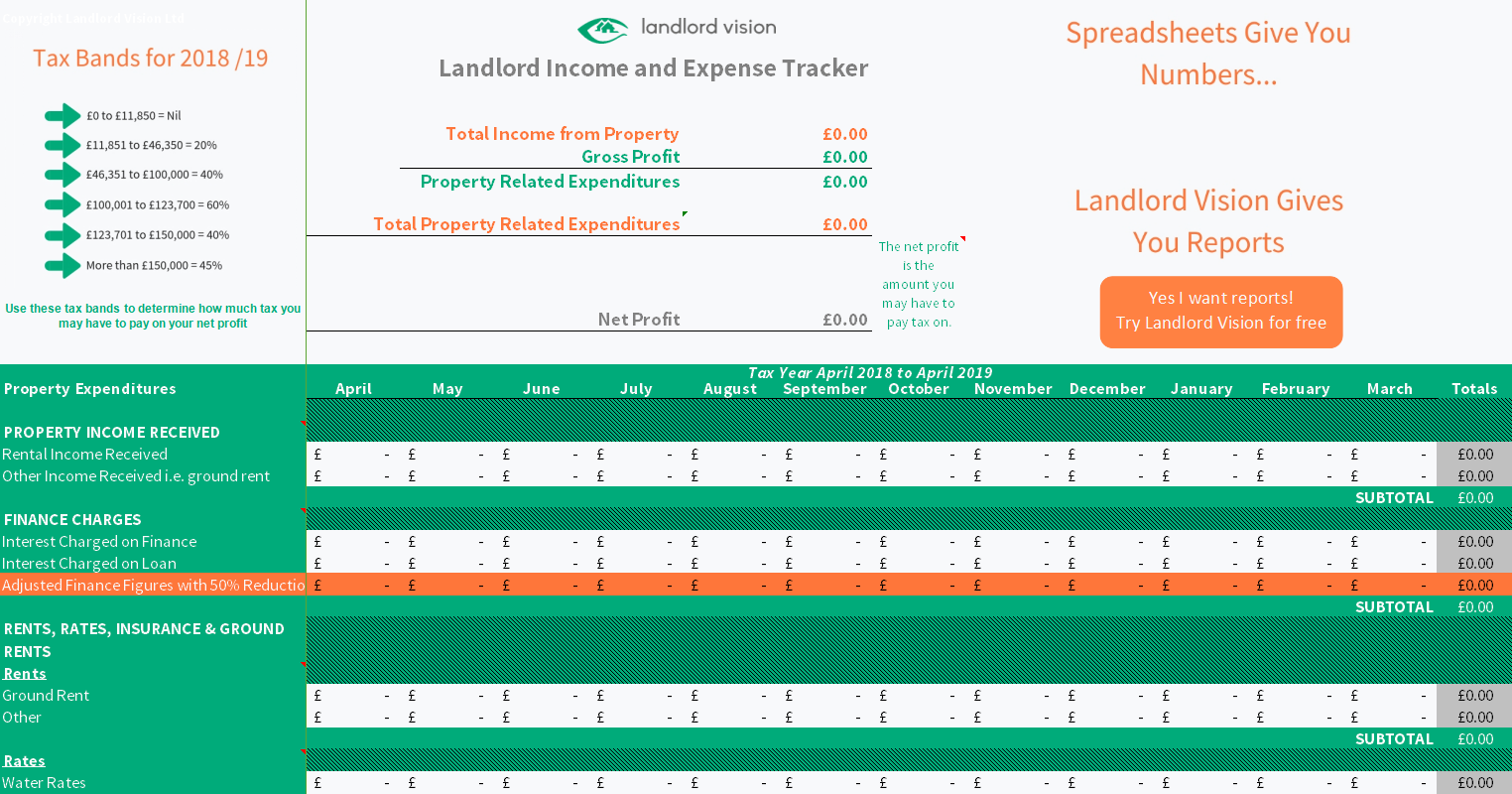 free rental income and expense tracking spreadsheet download page
